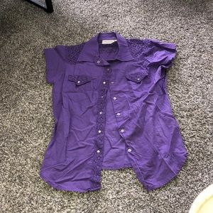 Purple Laced Detailed Short Sleeve Button Up